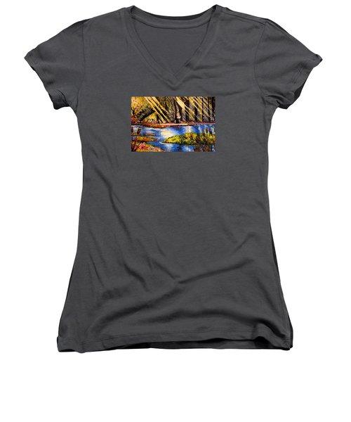 Lisas Neck Of The Woods Women's V-Neck T-Shirt (Junior Cut) by Alexandria Weaselwise Busen