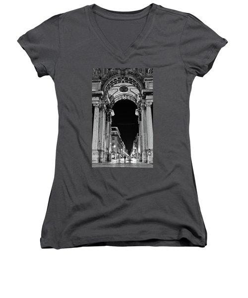Lisbon - Portugal - Triumphal Arch - Rua Augusta Women's V-Neck