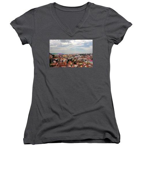 Lisbon's Chaos Of Color Women's V-Neck T-Shirt (Junior Cut) by Lorraine Devon Wilke