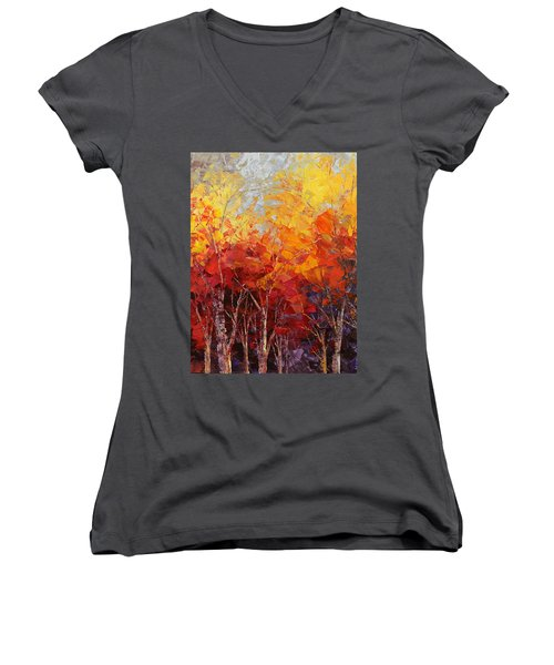 Listening To Leaves Women's V-Neck T-Shirt (Junior Cut) by Tatiana Iliina
