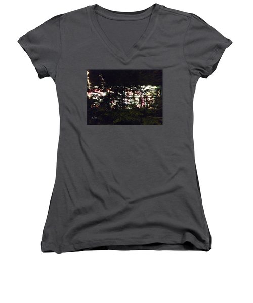 Women's V-Neck T-Shirt (Junior Cut) featuring the photograph Lit Like Stained Glass by Felipe Adan Lerma