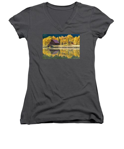 Little Barn By The Lake Women's V-Neck T-Shirt (Junior Cut) by Teri Virbickis