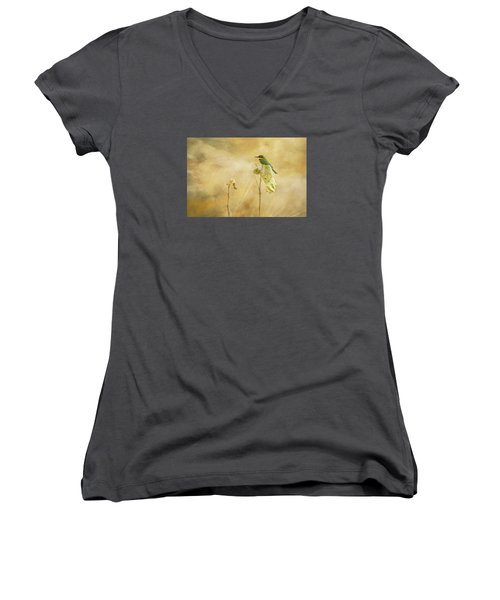 Women's V-Neck T-Shirt (Junior Cut) featuring the tapestry - textile Little Bee-eater by Kathy Adams Clark