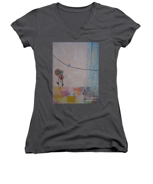 Women's V-Neck T-Shirt (Junior Cut) featuring the painting Little Birdie by Ashley Price