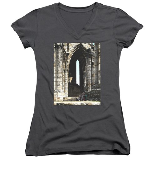 Little Boy Under The Arch Women's V-Neck T-Shirt