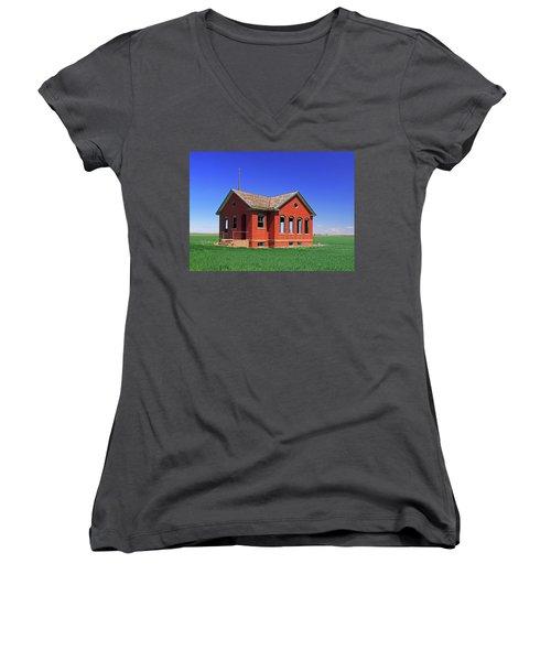 Little Brick School House Women's V-Neck T-Shirt (Junior Cut) by Christopher McKenzie