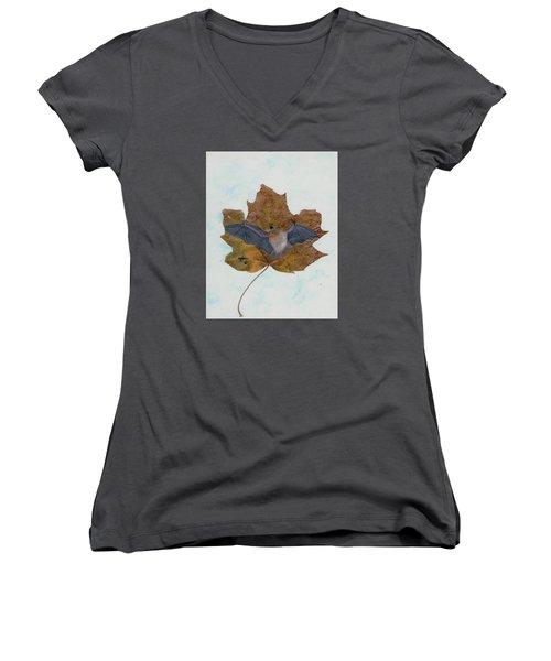 Little Brown Bat Women's V-Neck T-Shirt (Junior Cut) by Ralph Root