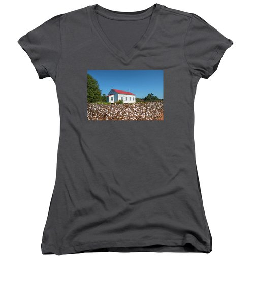 Women's V-Neck T-Shirt (Junior Cut) featuring the photograph Little Church In The Cotton Field by Bonnie Barry