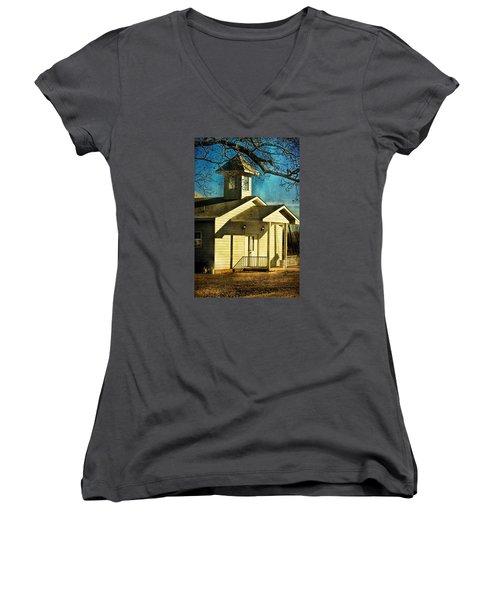 Women's V-Neck T-Shirt (Junior Cut) featuring the photograph Little Church by Joan Bertucci