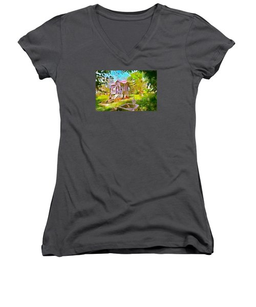 Caribbean Scenes - Little Country House Women's V-Neck T-Shirt (Junior Cut) by Wayne Pascall