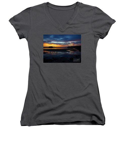 Women's V-Neck T-Shirt (Junior Cut) featuring the photograph Little Ducks by Trena Mara