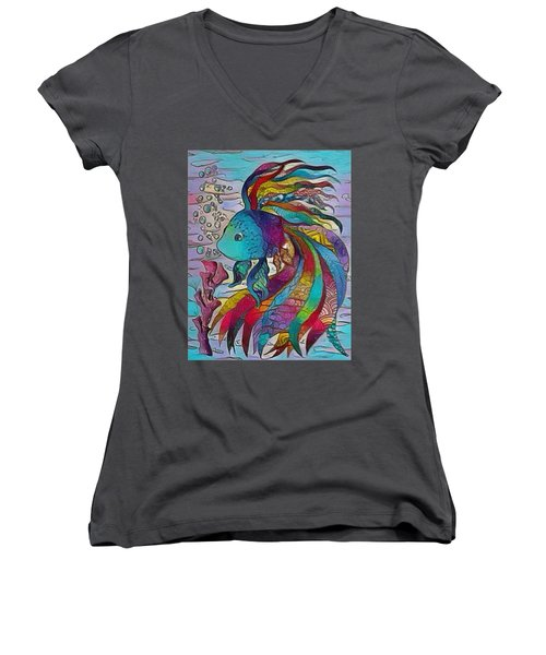 Little Fish 3 Women's V-Neck T-Shirt (Junior Cut) by Megan Walsh