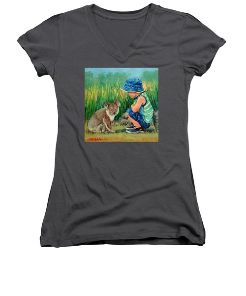 Women's V-Neck T-Shirt (Junior Cut) featuring the painting Little Friends by Margaret Stockdale