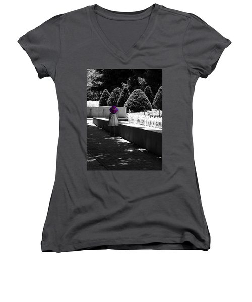 Little Girl In Magenta Hat Black And White Selective Color Women's V-Neck (Athletic Fit)