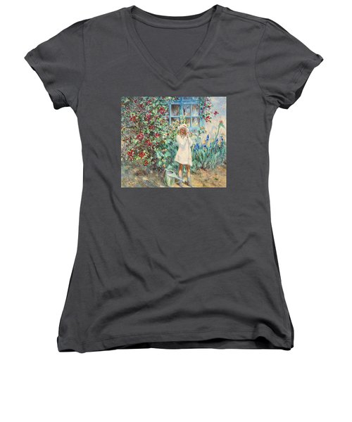Little Girl With Roses  Women's V-Neck T-Shirt