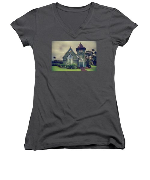 Little Green Church Women's V-Neck