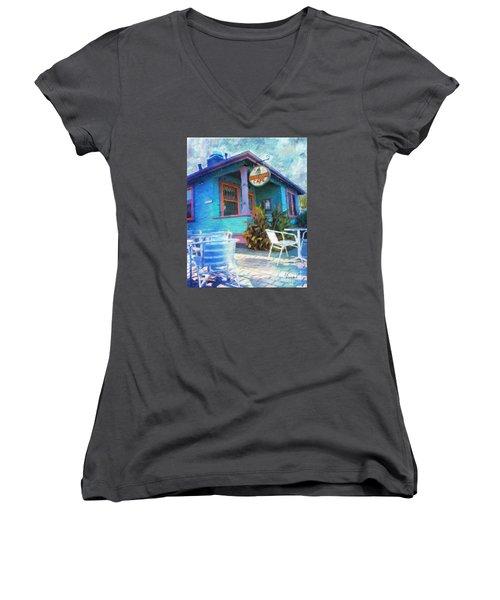Little House Cafe  Women's V-Neck T-Shirt (Junior Cut) by Linda Weinstock