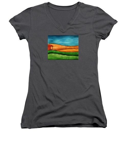 Little House On Hill Women's V-Neck T-Shirt (Junior Cut) by Brenda Bryant
