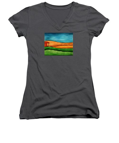 Little House On Hill Women's V-Neck T-Shirt