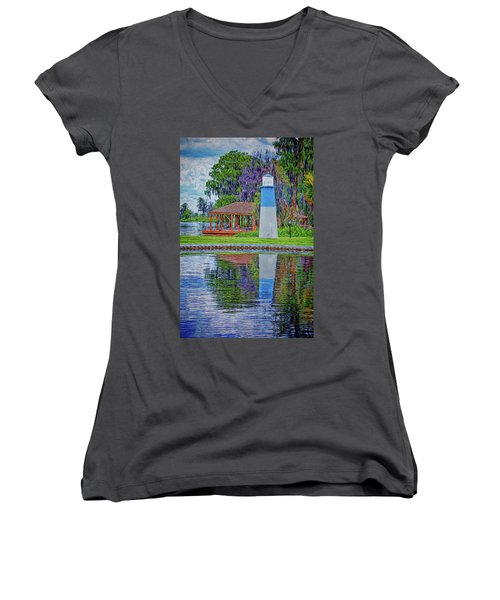 Women's V-Neck T-Shirt featuring the photograph Little Lake Lightouse by Lewis Mann