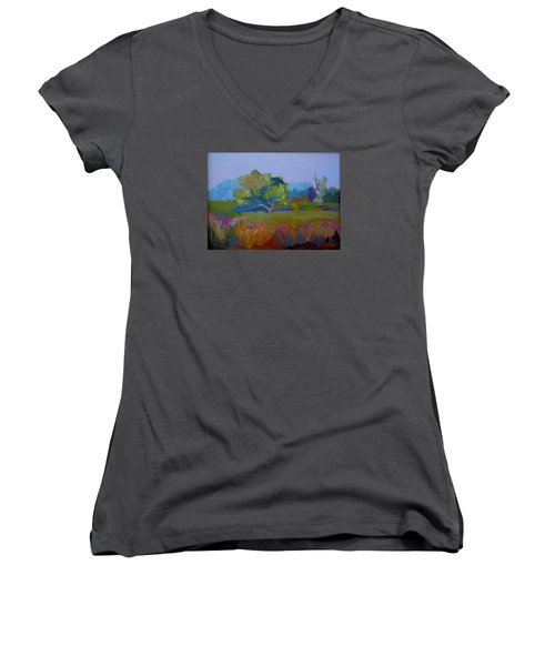 Women's V-Neck T-Shirt (Junior Cut) featuring the painting Little Miami Meadow by Francine Frank
