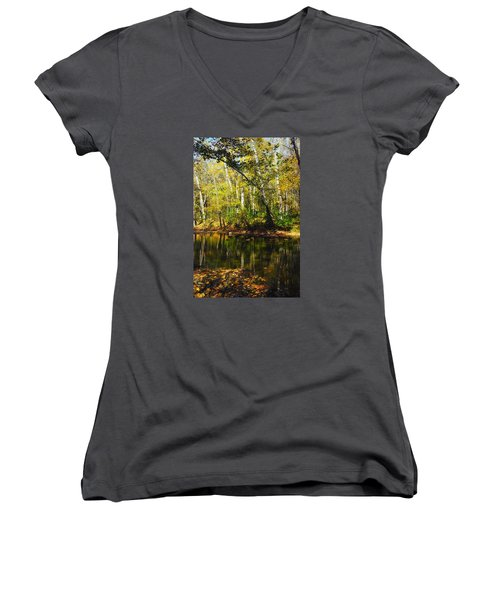 Women's V-Neck T-Shirt (Junior Cut) featuring the photograph Little Miami River by Beth Akerman