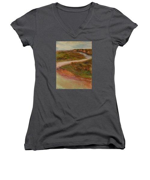 Little Missouri Overlook  Women's V-Neck T-Shirt (Junior Cut) by Helen Campbell