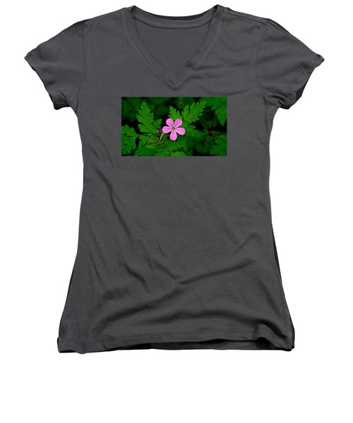 Little Purple Flower Women's V-Neck T-Shirt (Junior Cut) by Karen Molenaar Terrell