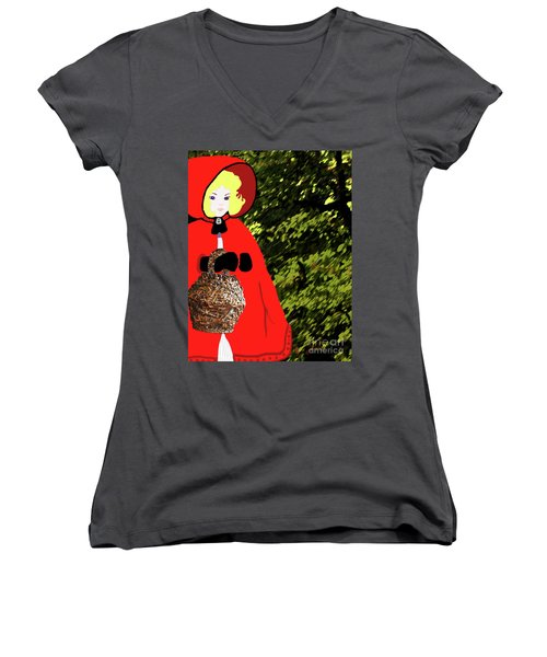 Little Red Riding Hood In The Forest Women's V-Neck T-Shirt (Junior Cut) by Marian Cates