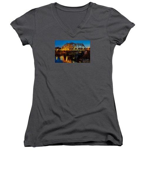 Little River Swing Bridge Women's V-Neck T-Shirt (Junior Cut) by David Smith