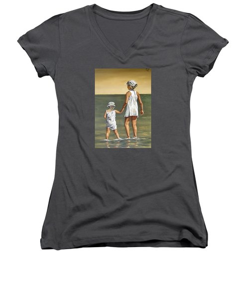 Women's V-Neck T-Shirt (Junior Cut) featuring the painting Little Sisters by Natalia Tejera