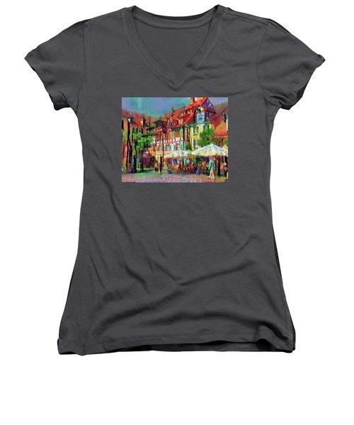 Little Town Women's V-Neck T-Shirt