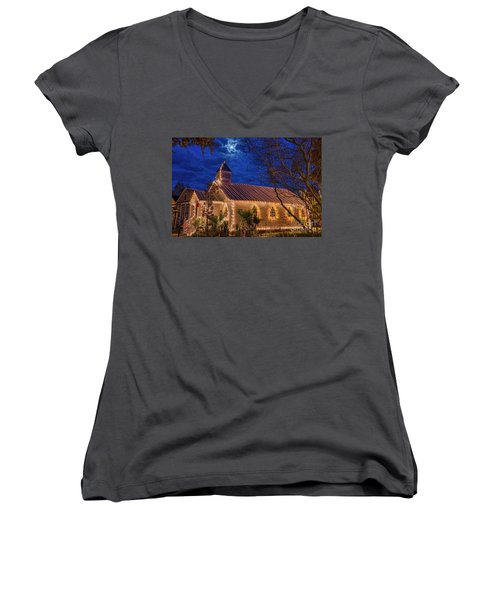 Women's V-Neck T-Shirt (Junior Cut) featuring the photograph Little Village Church With Star From Heaven Above The Steeple by Bonnie Barry