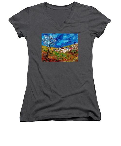 Little Village Women's V-Neck T-Shirt (Junior Cut) by Mike Caitham