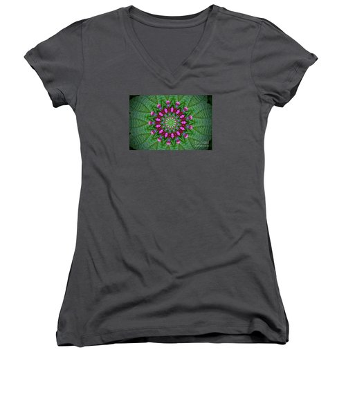 Little Weed Kaliedoscope Women's V-Neck T-Shirt (Junior Cut) by Shirley Moravec