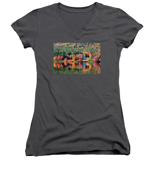 Women's V-Neck T-Shirt (Junior Cut) featuring the photograph 'little White Church', Eaton, Nh	 by Larry Landolfi