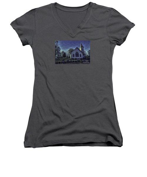 Little White Church Women's V-Neck T-Shirt
