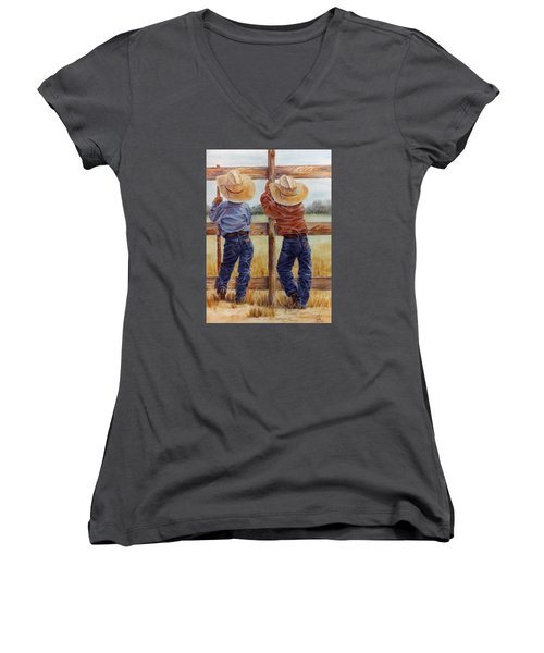 Little Wranglers Women's V-Neck T-Shirt (Junior Cut) by Ann Peck
