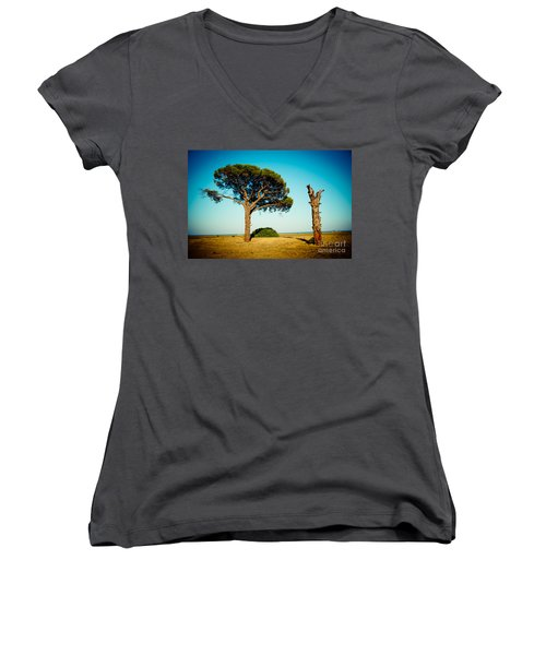 Live And Dead Tree At Seacoast Women's V-Neck