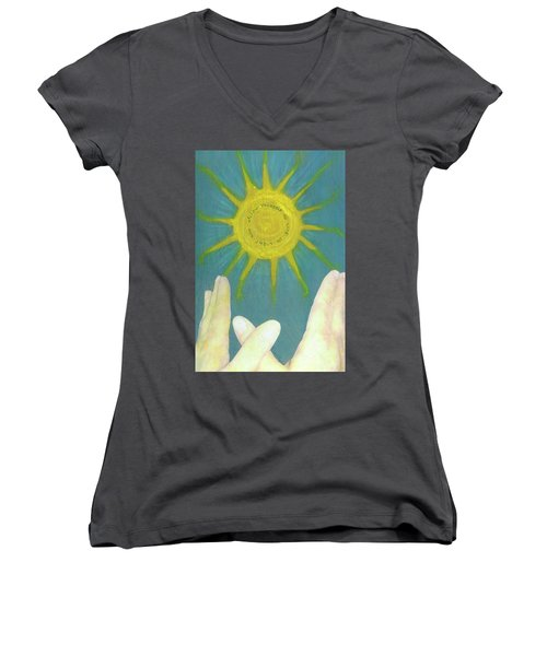 Women's V-Neck T-Shirt (Junior Cut) featuring the mixed media Live In Light by Desiree Paquette