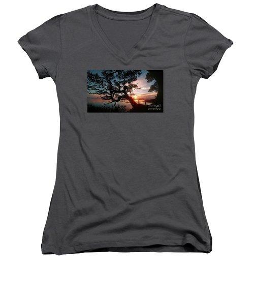 Women's V-Neck T-Shirt (Junior Cut) featuring the photograph Live Oak Sunrise by Benanne Stiens