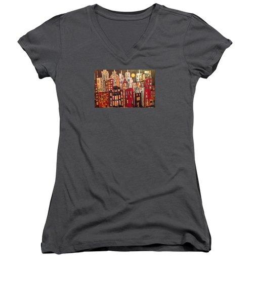 Lively City Skyline Women's V-Neck T-Shirt (Junior Cut) by Roxy Rich