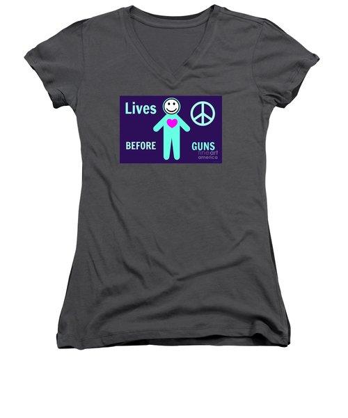 Lives Before Guns Women's V-Neck T-Shirt