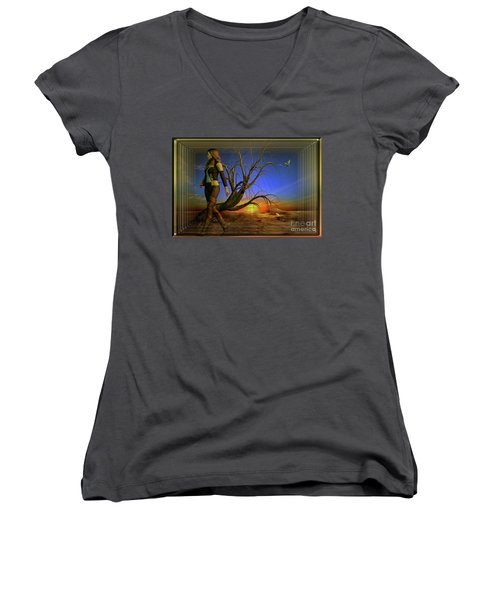 Living On The Edge Women's V-Neck T-Shirt