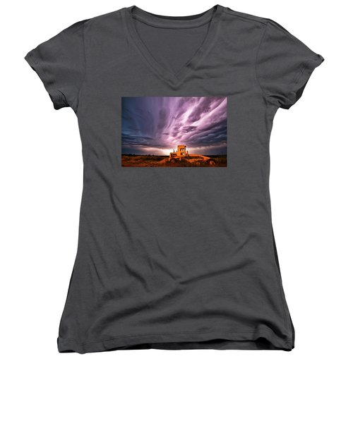 Living Sky In Nebraska Women's V-Neck (Athletic Fit)