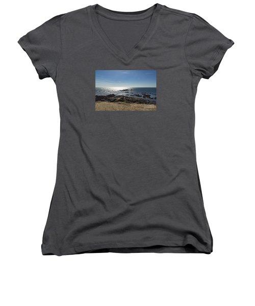 Lizard Point Cornwall Women's V-Neck T-Shirt (Junior Cut) by Brian Roscorla