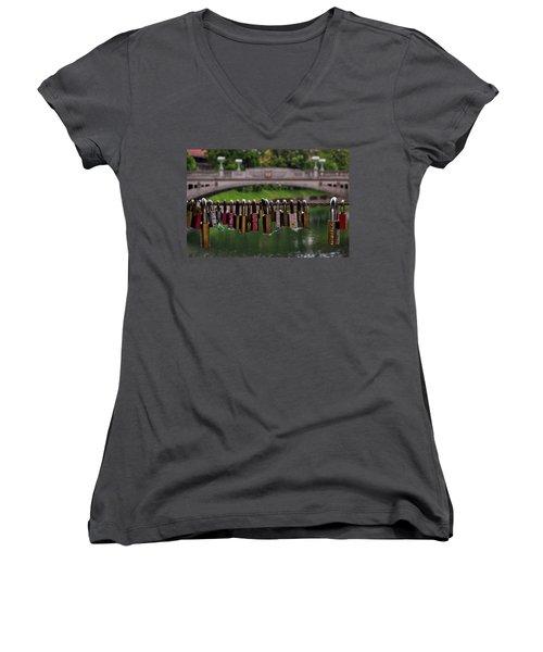 Women's V-Neck T-Shirt featuring the photograph Ljubljana Love Locks - Slovenia  by Stuart Litoff
