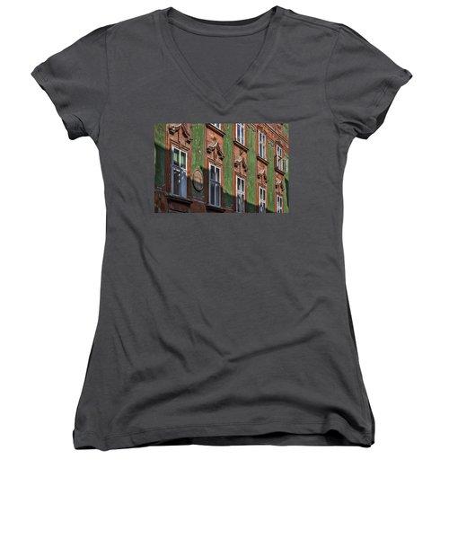 Women's V-Neck T-Shirt featuring the photograph Ljubljana Windows #2 - Slovenia by Stuart Litoff