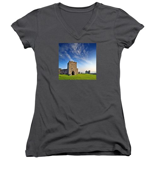 Llansteffan Castle 1 Women's V-Neck (Athletic Fit)
