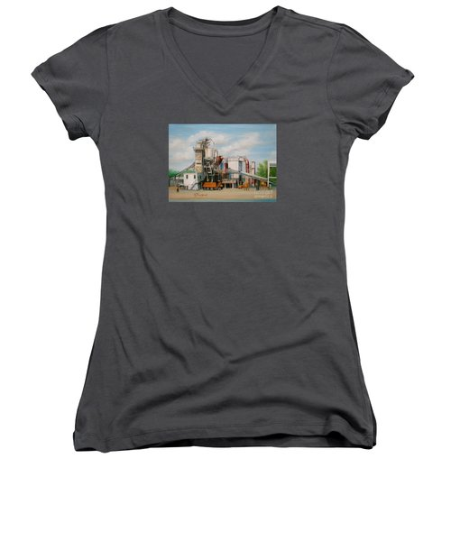 Women's V-Neck T-Shirt (Junior Cut) featuring the painting Load  The Big Orange Truck by Oz Freedgood